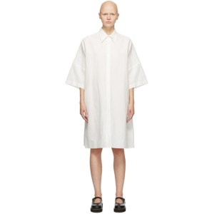 Ys White Linen and Cotton Three-Quarter Sleeve Dress