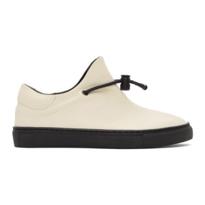 Ys Off-White Leather Slip-On Sneakers