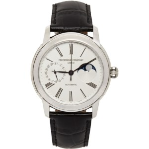 Frederique Constant Silver and Black Classic Moonphase Manufacture Watch