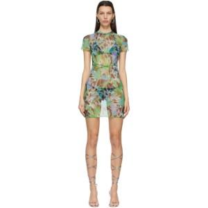 KIM SHUI SSENSE Exclusive Green Mesh Tropic Mini Dress