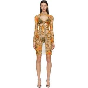 KIM SHUI SSENSE Exclusive Orange Mesh Multi Tie Dress