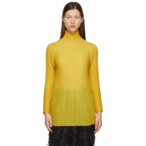 Issey Miyake Yellow Wooly Pleats Turtleneck