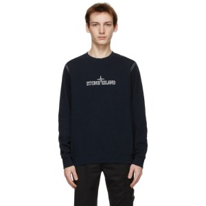 Stone Island Navy Embroidered Logo Sweatshirt