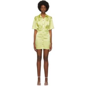 Nanushka SSENSE Exclusive Yellow Satin Cordelia Short Dress