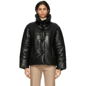 Nanushka Black Vegan Leather Hide Puffer Jacket