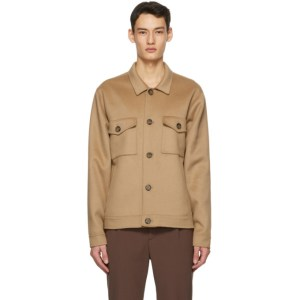 Nanushka Tan Wool and Silk Rhys Jacket