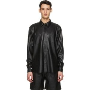 Nanushka Black Vegan Leather Declan Shirt