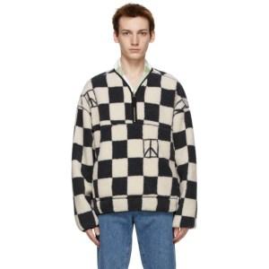 Saturdays NYC Grey and White Polar Fleece Astor Sweater