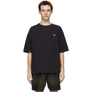 Saturdays NYC Black Embroidered Rose T-Shirt