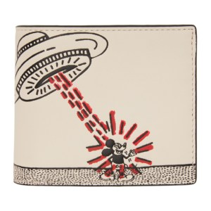 Coach 1941 White Keith Haring Edition Mickey UFO Double Billfold Wallet