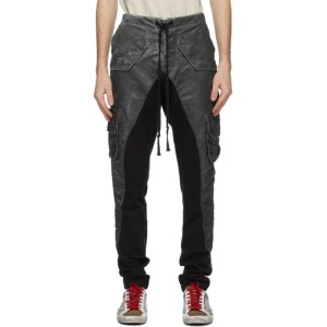Greg Lauren Black Satin Washed 50/50 Cargo Pants