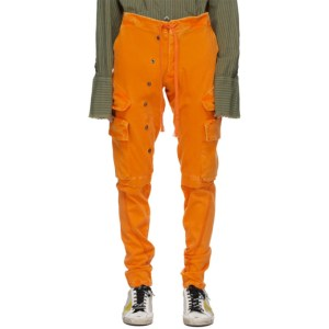 Greg Lauren Orange Denim Stretch Cargo Pants
