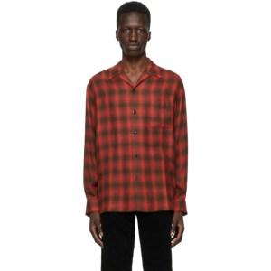 WACKO MARIA Red Check Open Collar Shirt