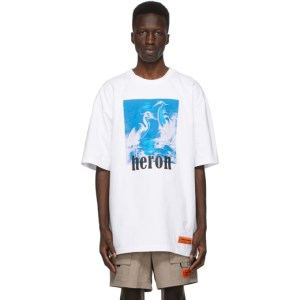 Heron Preston White and Blue Herons T-Shirt