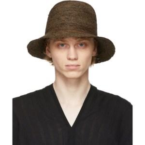 Jan-Jan Van Essche Brown Straw Crochet 7 Hat