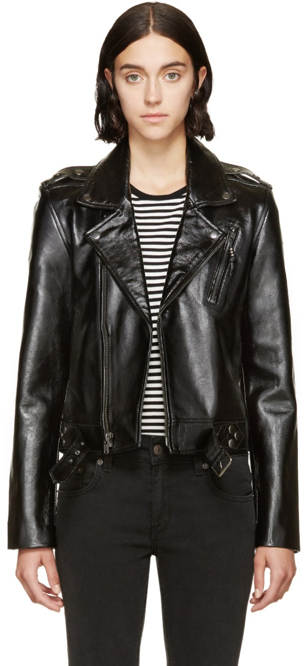 BLK DNM Black Patent Cropped 1 Biker Jacket in Leather