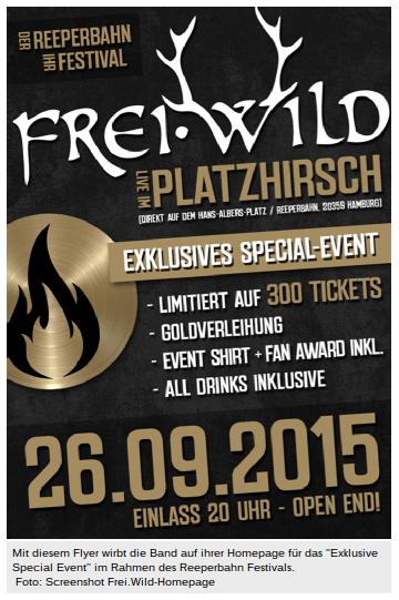Frei.wild Flyer Reeperbahn Event. Screenshot: Mopo.de