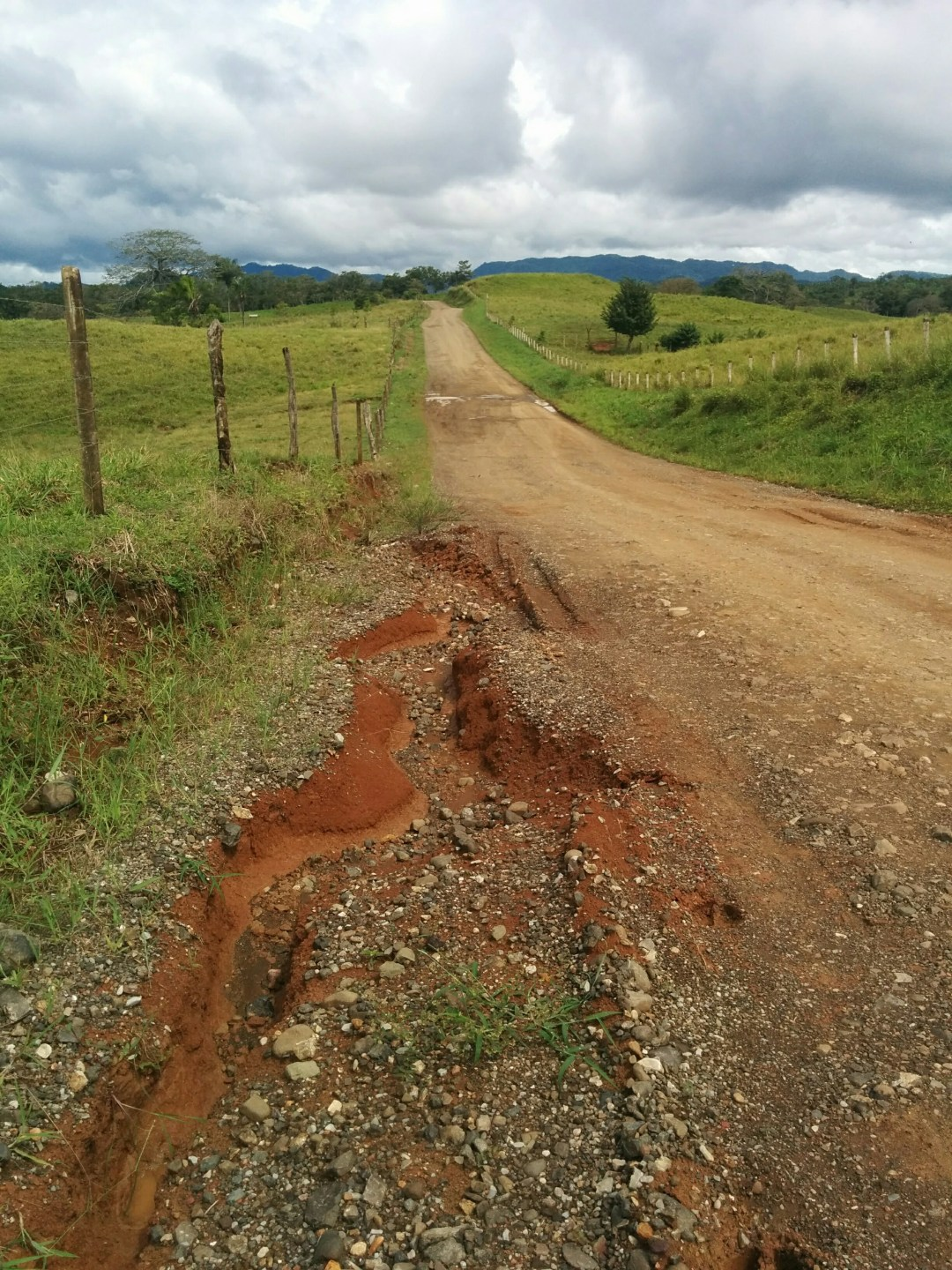 The heavy rains take their toll on the dirt roads.