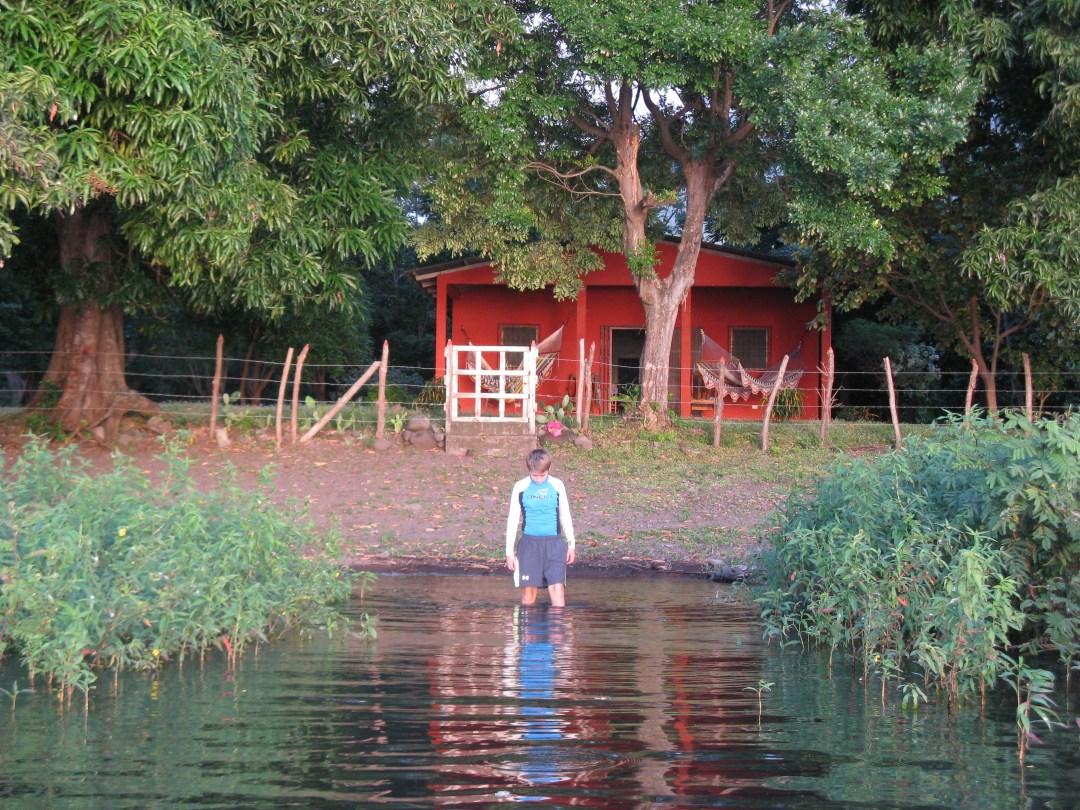 Lucas entering the lake
