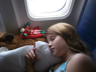 Snoozing on the plane