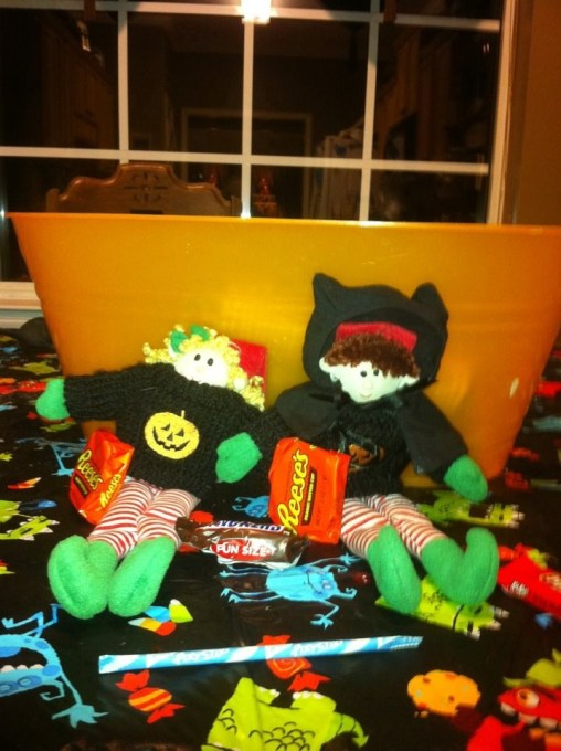 elves enjoy the candy on Halloween