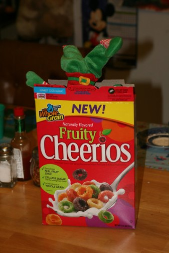 hiding in the cereal box