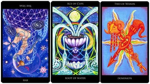 The Star reversed - Ace of Cups - 2 of Wands from the Rosetta Tarot