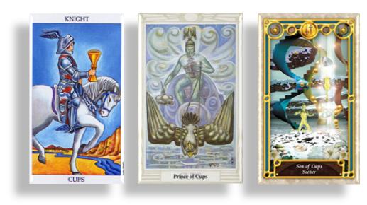 tarot court cards knights and prince of cups