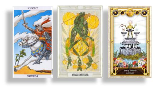 tarot court cards knights and prince of swords