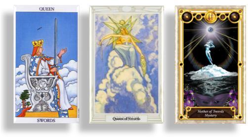 tarot court cards queen of swords and mother of swords
