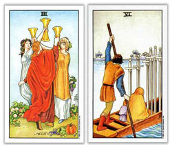 universal rider waite tarot three of cups six of swords