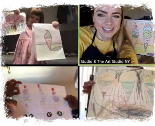 Kids and art instructor Amy Wetsch screencapture showing an online art class with The Art Studio NY