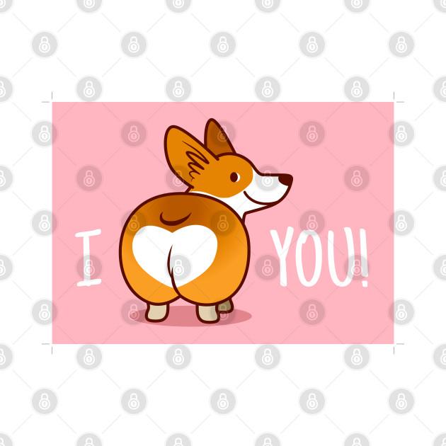 Download Cute Smiling Corgi Heart Butt - Corgi - Tapestry | TeePublic