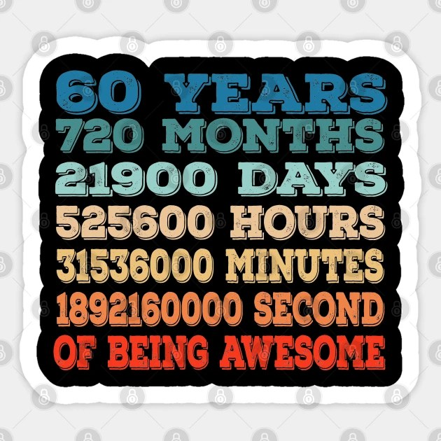 60 Years Old 60th Birthday Vintage Retro T Shirt 720 Months 60th Birthday Gift Aufkleber Teepublic De