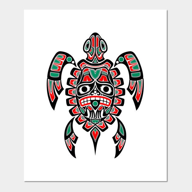 red and black haida spirit sea turtle