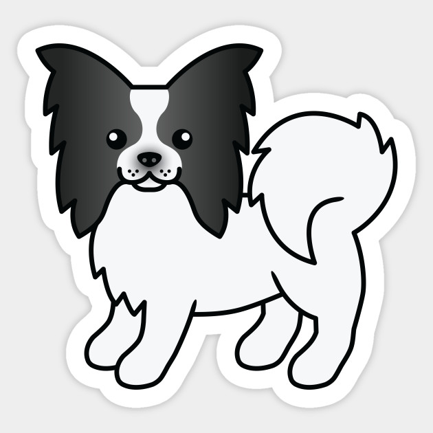 Black And White Papillon Dog Cute Cartoon Illustration Papillon Sticker Teepublic