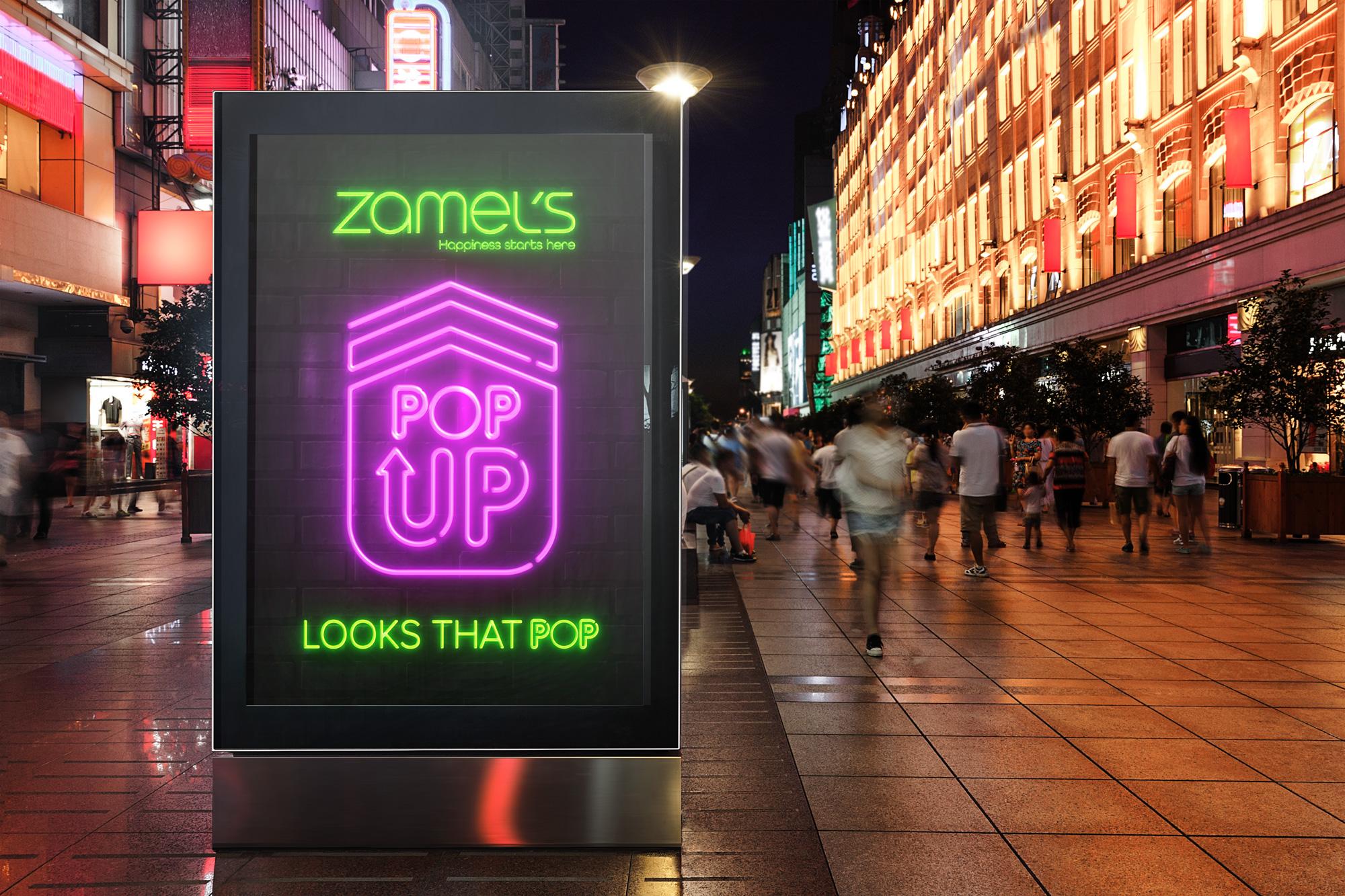 Zamel's Pop Up Store Signage