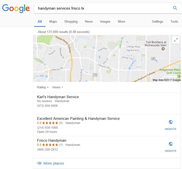 EMD with Page 1 Ranking and in Google 3 pack | Frisco Handyman