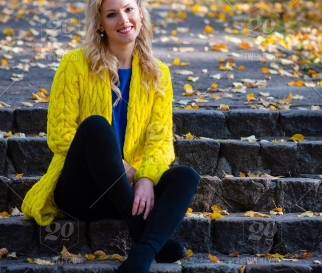 Young Beautiful Blonde Woman Sits In The Park On A Old Ladder Adult Autumn Background Beautiful Beauty Blonde Bright Caucasian Cheerful Clothes