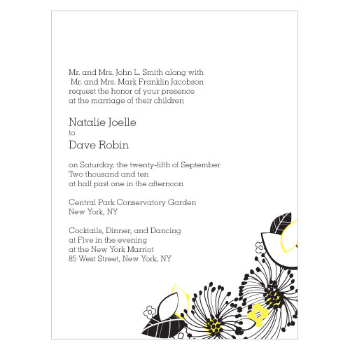 Floral Fusion Invitation Lemon Yellow
