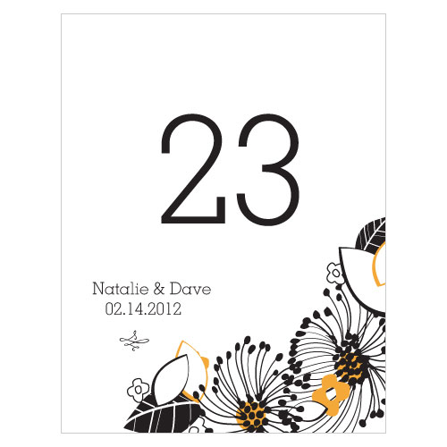 Floral Fusion Table Number Numbers 25-36 Harvest Gold