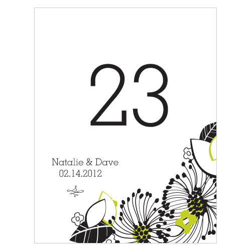 Floral Fusion Table Number Numbers 1-12 Leaf Green