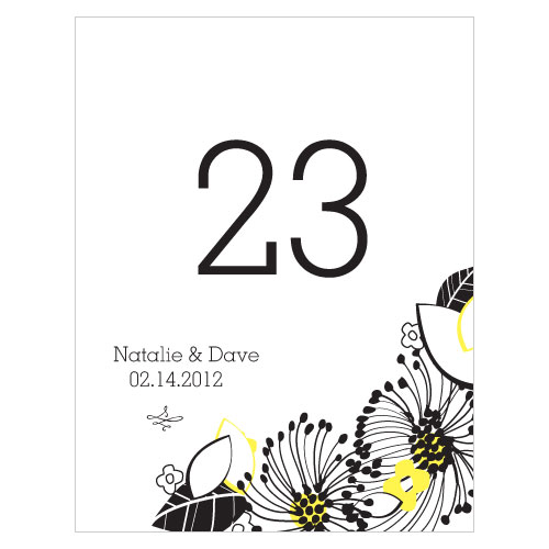 Floral Fusion Table Number Numbers 61-72 Lemon Yellow