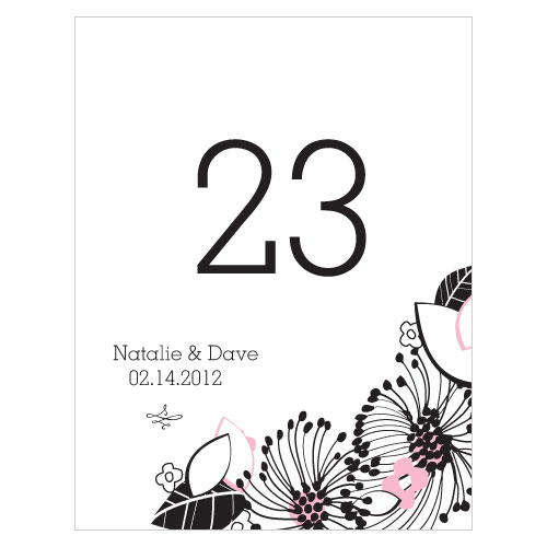 Floral Fusion Table Number Numbers 49-60 Pastel Pink
