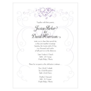 Heart Filigree Invitation Lavender