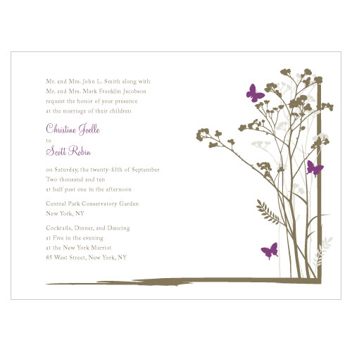 Romantic Butterfly Invitation Plum