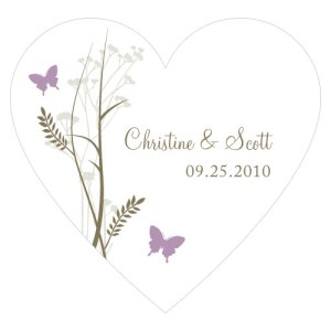 Romantic Butterfly Heart Sticker Lavender