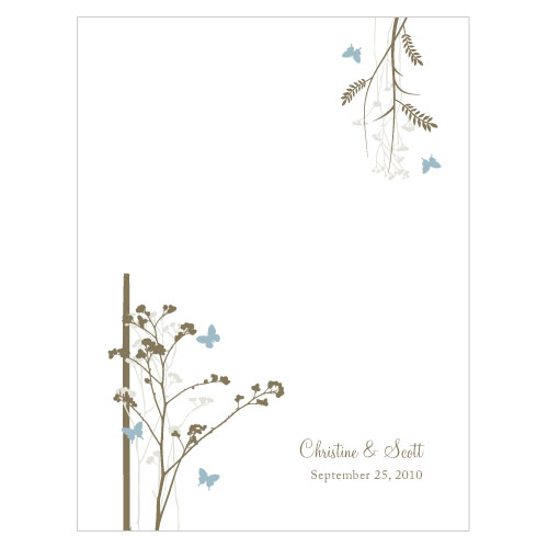 Romantic Butterfly Place Card With Fold Powder Blue