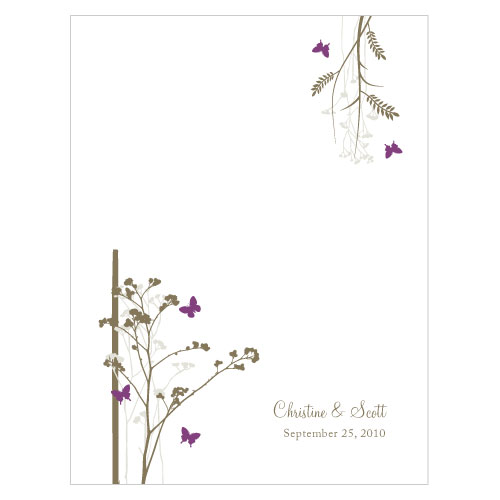 Romantic Butterfly Place Card With Fold Plum