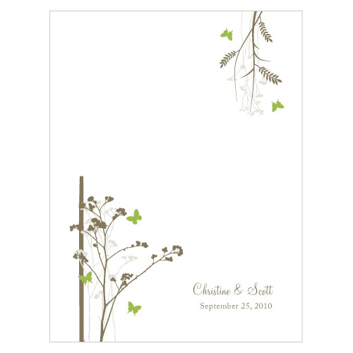 Romantic Butterfly Place Card With Fold Grass Green